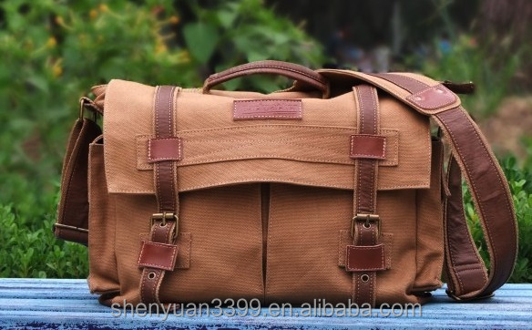 Western vintage style women dslr camera tote bag stylish custom brown camera photo&vedio shoulder bag