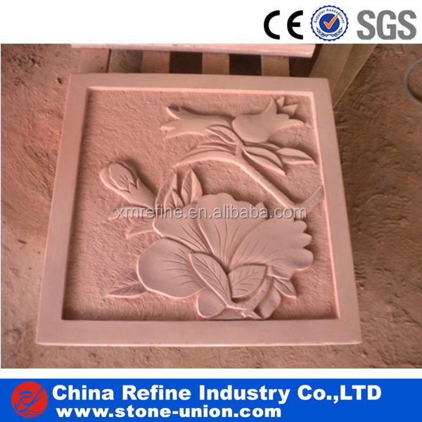 Natural style red sandstone art relief carving