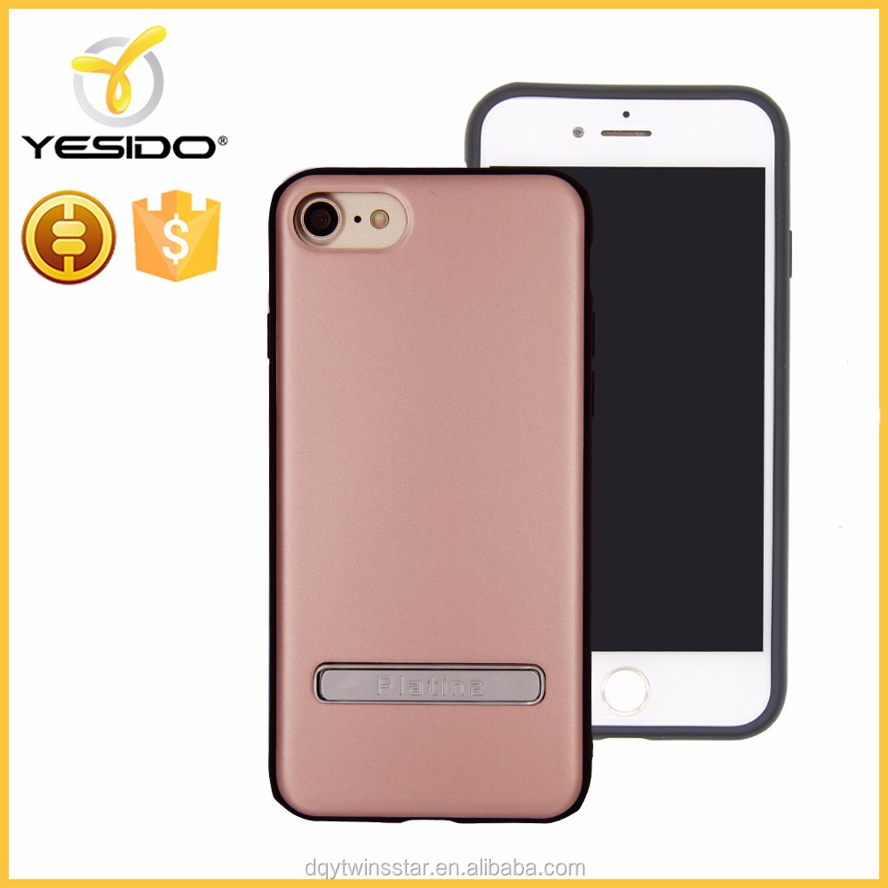 2017 Newest 2 in 1 case mobile holder metal kickstand phone case for iphone 7 Rose gold