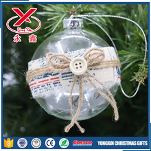 Decorative clear christmas glass ball with cloth and rope for hanging tree ornaments