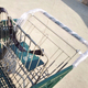 Zinc plated America style plastic shopping trolley