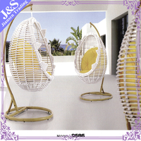 garden furniture outdoor factory wholesale garden swing egg shape rattan material hanging chair cover with cushion jhoola swing