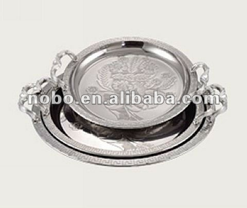 stainless steel embossing round plate / round tray