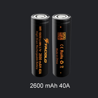 Best seller FACOLO 18650 2600mAh 3.7V 40A high drain rechargeable battery facolo 40amp battery for mechanical mod 18650 battery