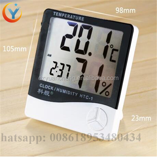 LCD Electronic Digital Thermometer Hygrometer HTC-1 Temperature Instruments Hygrometer Temperature Humidity Meter Clock