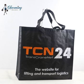 Top sale unique design black eco pp woven shopping bag