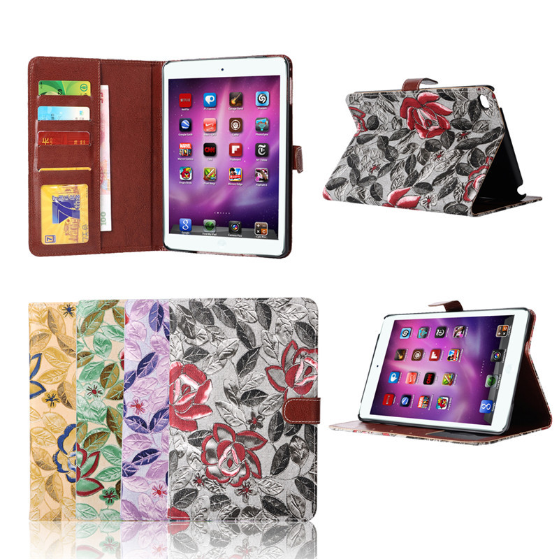 Tablet case cover for ipad mini 4 smart stand magnetic folio cover, leather case for ipad mini 4 wallet protective case