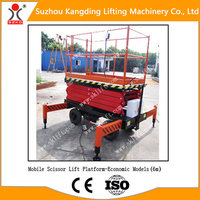 1Ton 6 meters Manual walking Scissor Lift Platform