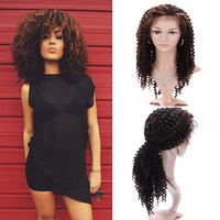 Hot selling kinky curly silk base human hair full lace wig