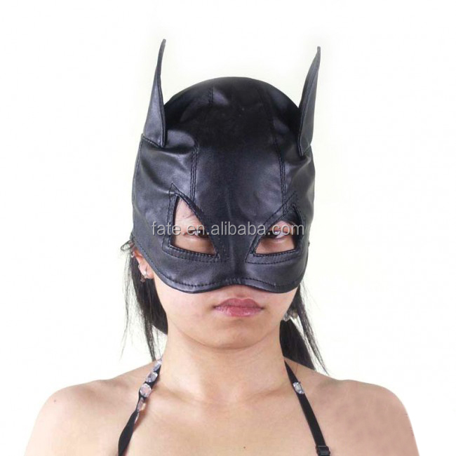 Sensory Deprivation Leather mask with zippers Hood GIMP