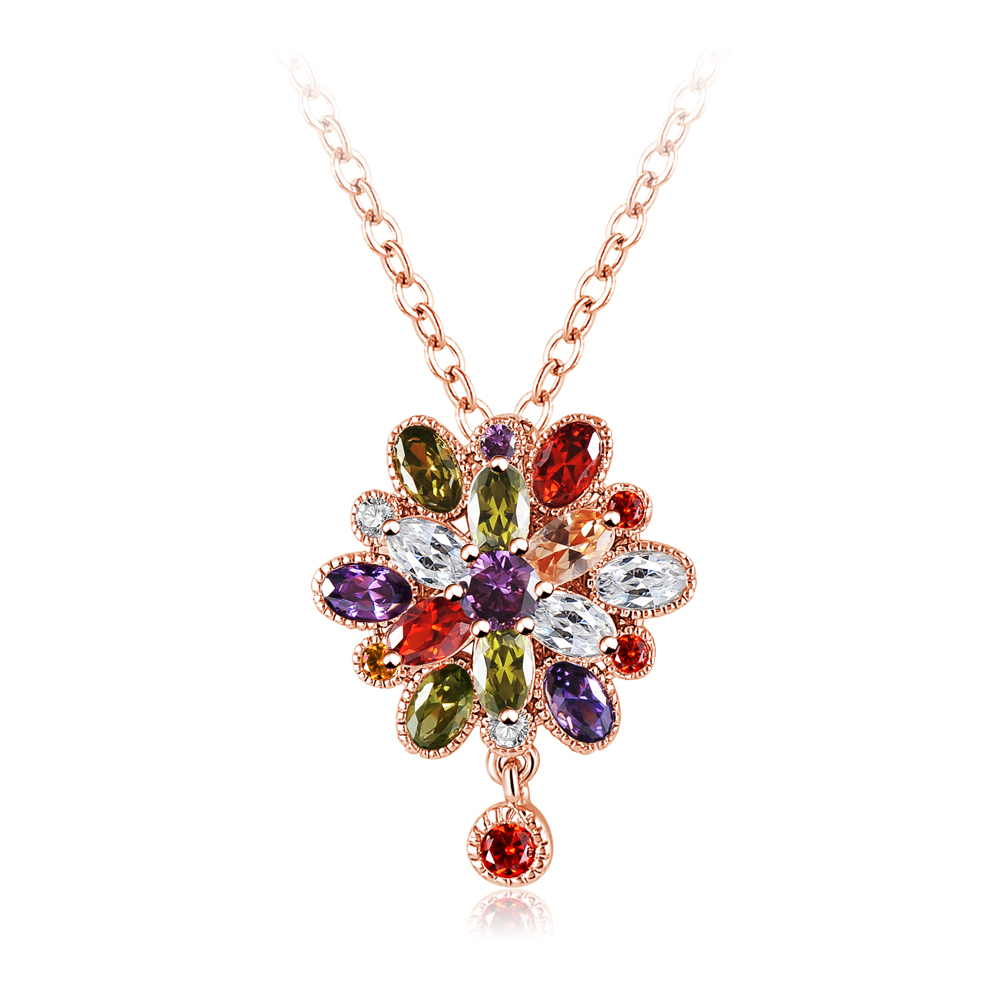 Latest Zircon Flower Pendant Necklace Design for Women Anniversary Wedding Bridal Jewelry CNL0016-B