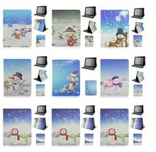 Sweet Love Christmas Snowmen Pattern Flip Stand Elastic Belt PC+PU Leather Case for iPad 2 3 4