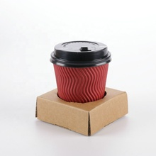 Factory wholesale disposable kraft <strong>paper</strong> corrugated milk tea coffee double cup holder portable take-out package <strong>paper</strong> cup holder