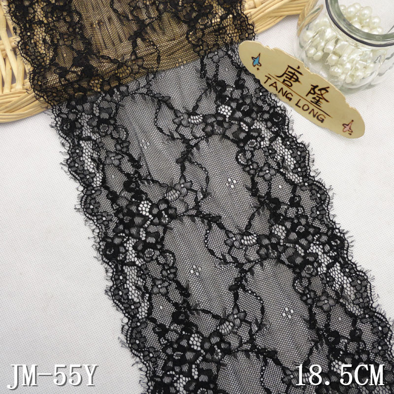 "18.5cm/6""black stretch eyelash lace trim"