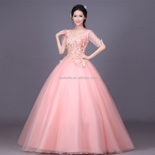 2017 Custom Made Pink Luxury Sequined Crystal Ruffles Ball Gown Quinceanera Dress Formal Party Dress
