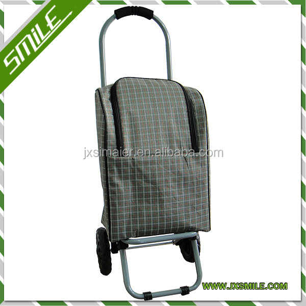 2013 NEW STYLE FOLDING SHOPPING TROLLEY WITH PLAID COLLER BAG,MANY COLOR CAN CHOOSE
