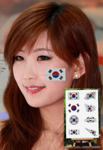 Fashion Waterproof Korea flag tattoo fans Face Tattoo sticker wholesale