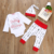 Baby christmas clothes sets infant toddlers letter print romper +cross print long pants+hat 3piece outfits