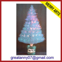 tabletop led spinning musical battery fiber optic christmas tree white