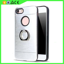 Fashion metal feel Hair line TPU PC Hybrid dual layer Ring Kickstand phone case Protectors For Alcatel OT5015 mobile phone cover