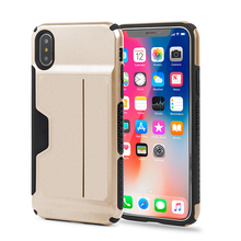Factory Wholesale Custom Logo Card Holder TPU+PC Hybrid Combo Shock Proof Armor Cell Phone Case Back Cover for Apple iPhone X