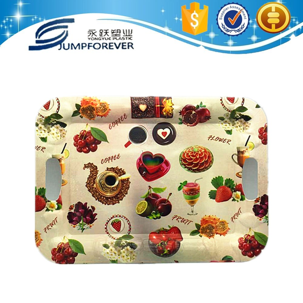 beautiful fruit design big size rectangular reusable plastic plate, wholesale serving trays