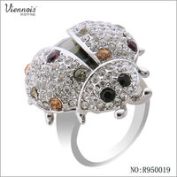 Imtation Rhodium Crystal Ring sliver ladybug ring For Girl