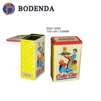 Good quality rectangular metal cookie tin box with step lids