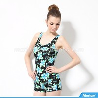 Open Hot Sex Girl Women Photo Flower Pattern Swimwear Bathing Suit