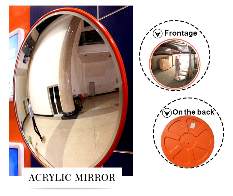 18inch indoor large angle traffic safety convex mirror acrylic lens unbreakable for warehouse