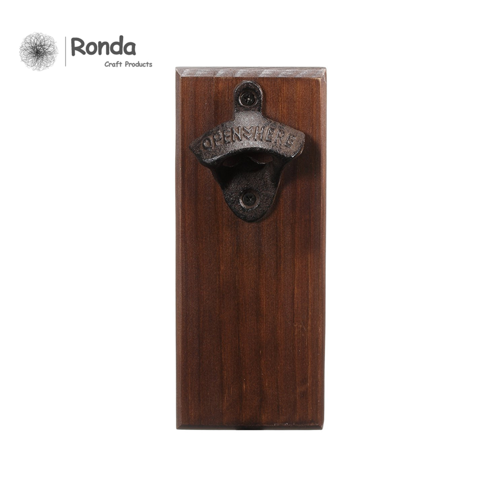 2017 best selling wooden wall mount beer bottle opener for wood engraving cutting