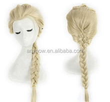 Western Style Elsa Cosplay Long White Blonde Braided Wig