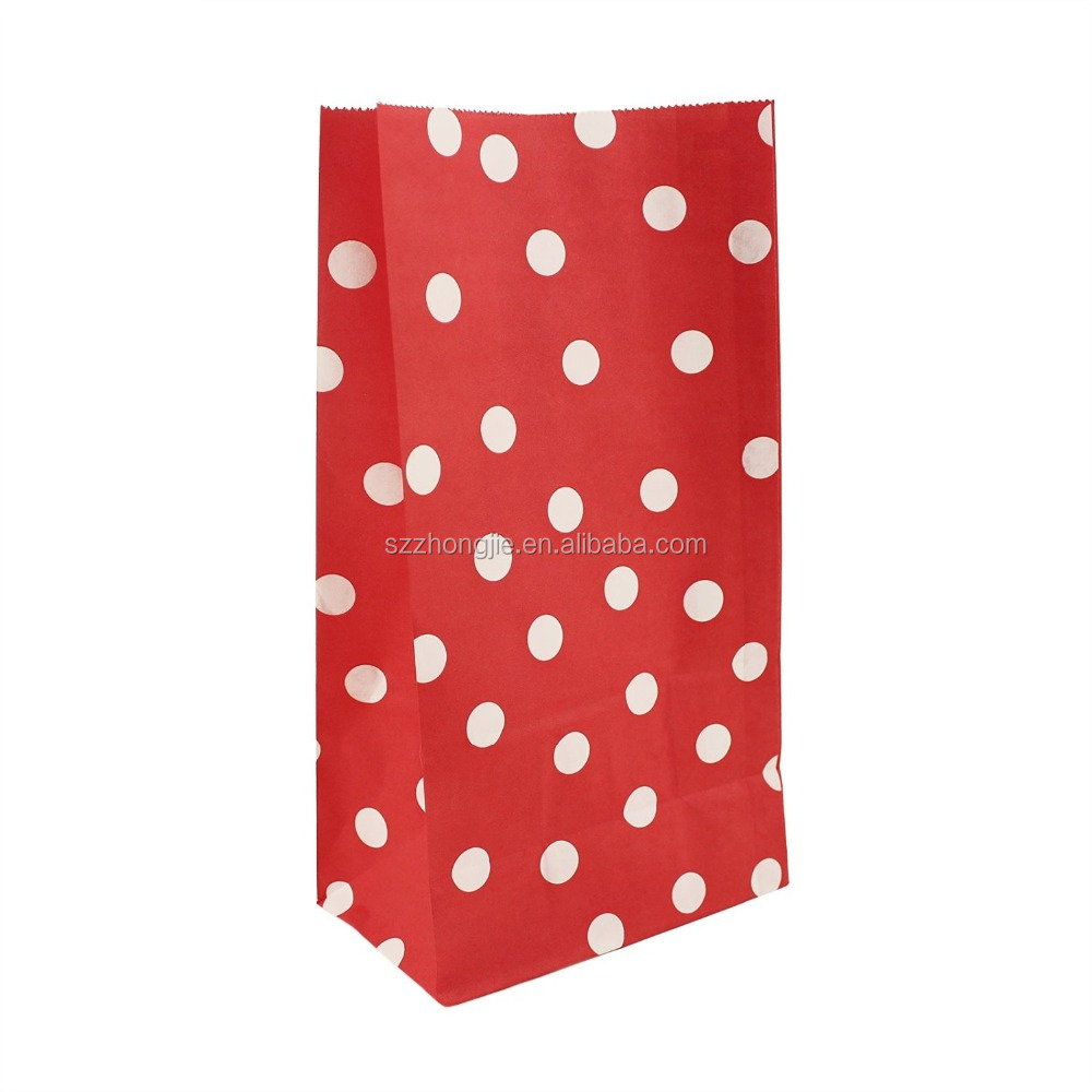 red polka dots paper bags for party favors packaging