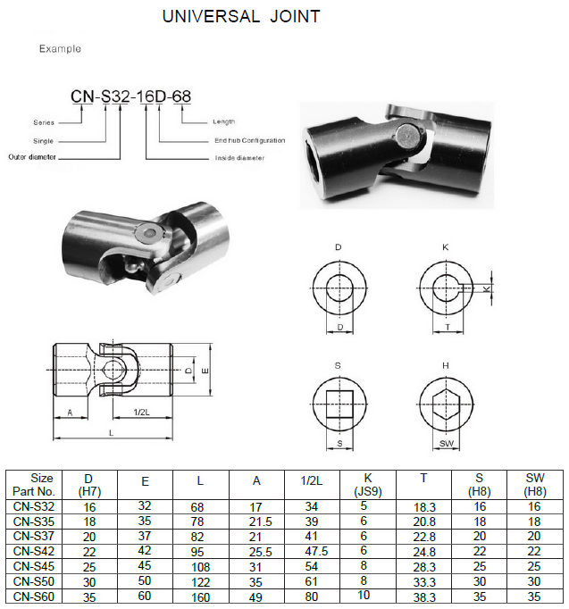 small stainless steel universal joints