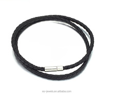 Black Braided Leather Chain Necklace with special clasp for Women and Men