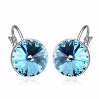 Austria Crystal 18K White Gold Plated Pendant Bella Pierced Earrings Made With Genuine Swarovski Elements