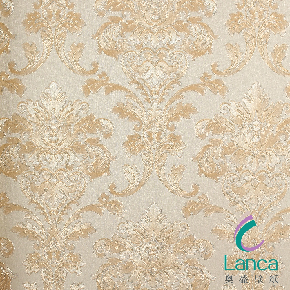 the luxury flocking white wood household damask non-woven music wallpaper