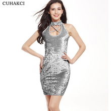 2018 Spring Summer Lady Velvet Dress Sexy Sleeveless Party Bodycon Mini Dresses Sexy 5 Colors