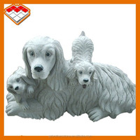Factory direct sale Mother and children dog granite stone carved pug dog statues