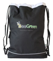Custom Design 600D Polyester Drawstring Gym Sack with Front Zipper Pocket