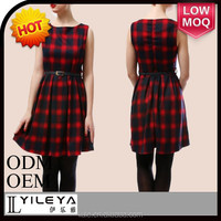 latest spring summer short plaid homecoming red dresses with belt