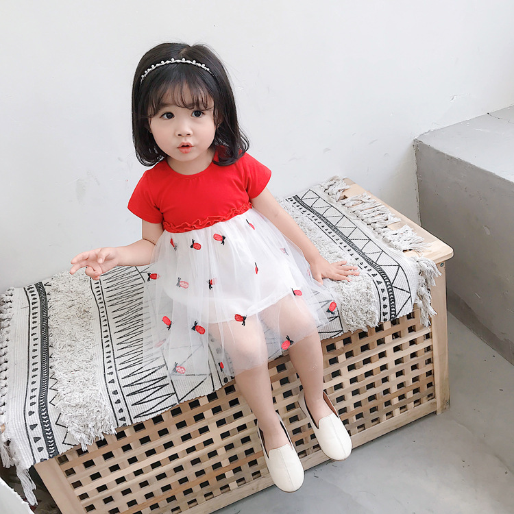 2019 latest short sleeve lace sweet summer girls children wholesale clothing dress with bottom price