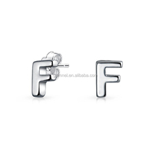 Gemnel jewelry 925 sterling silver initial F earring stud parts
