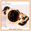 Assisi brand New fashion black stainless steel band women lady quartz casual wrist watch stainless steel back watch