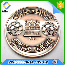 Custom soccer league coins, 2d copper sports challenge coin