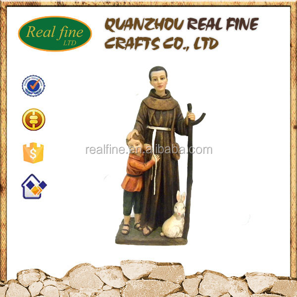 Hot sale polyresin religious saint people and rabbit statues for home decoration