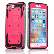 Shockproof Rugged Hybrid Armor Rubber Hard Impact Case Kickstand Cover Belt Clip Holster for Iphone 7 Plus