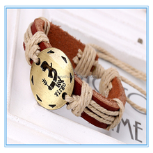 Fashion style handmade leather rope bracelet Constellations frendship bracelets for birthday gift