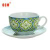 EU certificated Custom new bone China Rose Printed Tea espresso coffee cup and saucer set