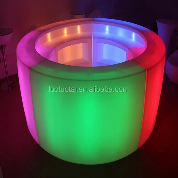illuminated led bar furniture/multicolor change led bar table/led round bar counter